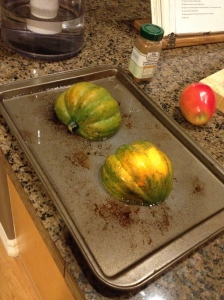 Halved Acorn Squash in 1/4 inch of water.  Brian Pinkowski