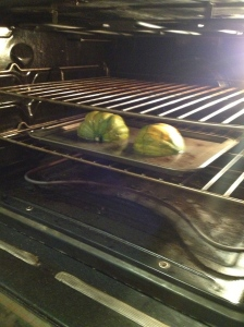Acorn Squash in the oven for 35 minutes.  Brian Pinkowski