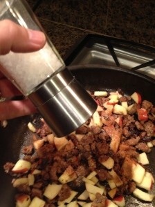 Ground beef mixed with the raisins, apples, cinnamon and a bit of salt.  Brian Pinkowski