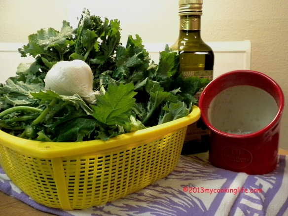 Start with washed greens, olive oil, garlic and sea salt.