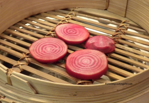 This wonderful bamboo steamer has a lid, of course, except when I'm taking a picture of the contents!