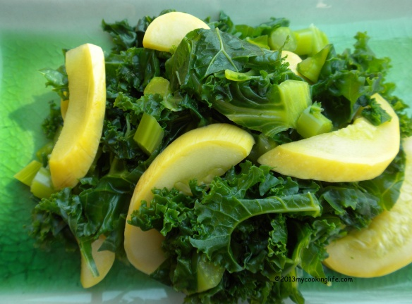 "Very lightly boiled kale and yellow squash. I eat greens every day! If you don't overcook them, they will put out this incredible ""Alive Vibe!"""