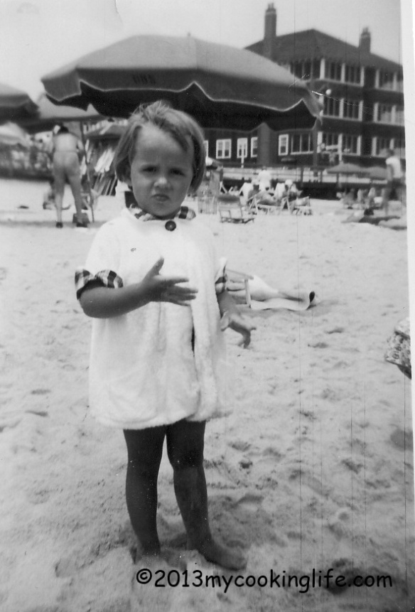 Pouty little girl. I did love that beach and I love the ocean. This was taken at just about the same spot as the one above taken of my parents many years earlier before they were married.