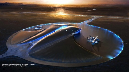Even the Spaceport has a little neon touch. The first flight is scheduled for Christmas Day. I wonder if it's booked?