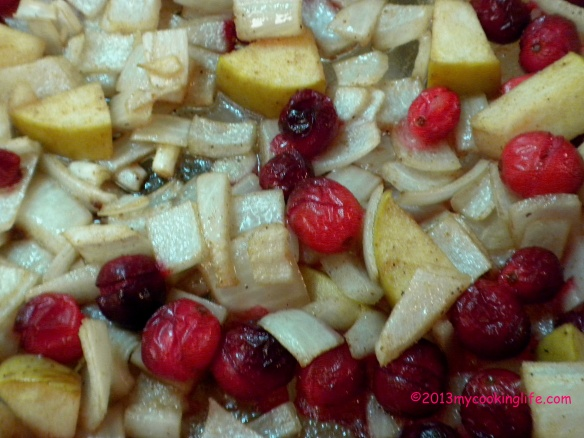 Roast the diced onions and green apple and the cranberries in olive oil, sea salt, cinnamon and nutmeg for about 30 minutes.