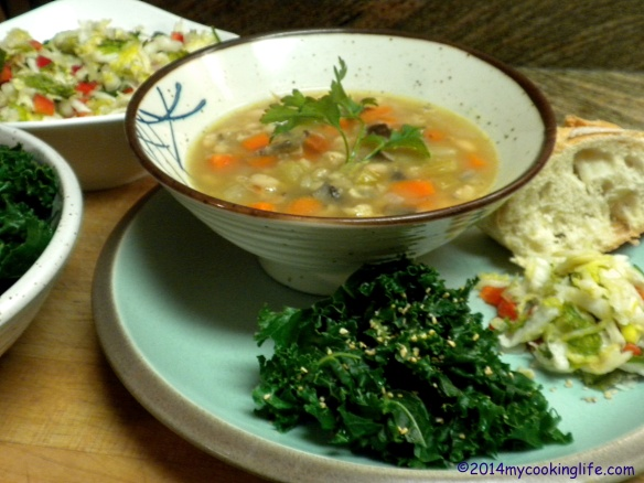 BEAN AND BARLEY SOUP WITH KALE, PRESSED SALAD AND CRUSTY BREAD